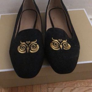 Cute black owl flats